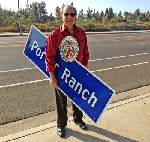 Dick Rippey with Porter Ranch Signs