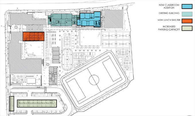 Prcs middle school building due to open 2018 2019 porter ranch site plan showing location of new buildings malvernweather Gallery